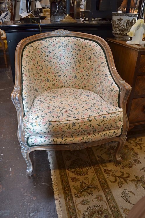 French petite carved barrel chair