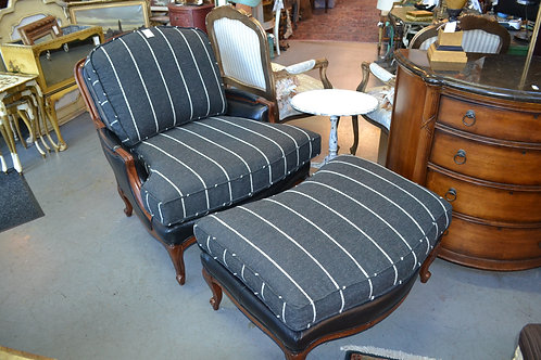 LARGE BERGERE CHAIR AND OTTOMAN- LEATHER AND FABRIC
