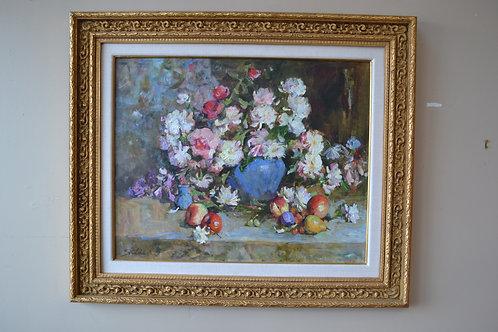 Art- Original oil, bouquet of flowers, blue vase