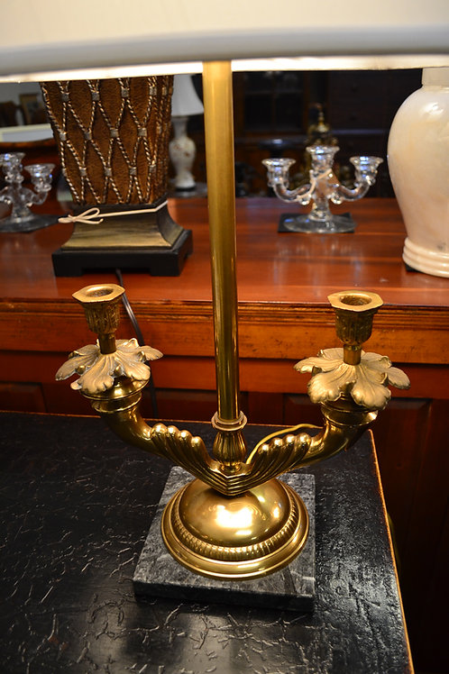 Lamp- Brass twin arm marble base candlestick, silk shade