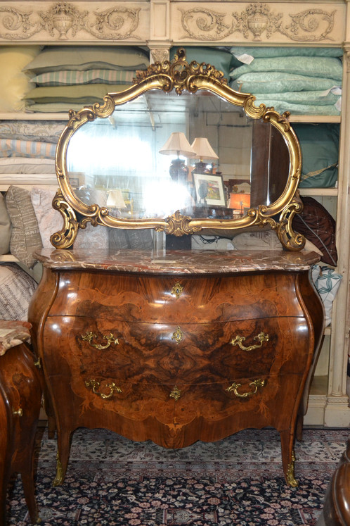 Antique French Bombe Dresser With Water Gilt Mirror