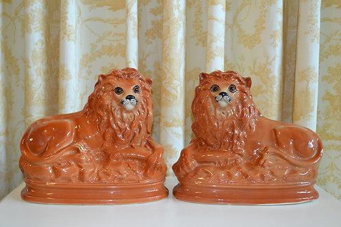 Pair of late 19th c. antique Staffordshire recumbent lions
