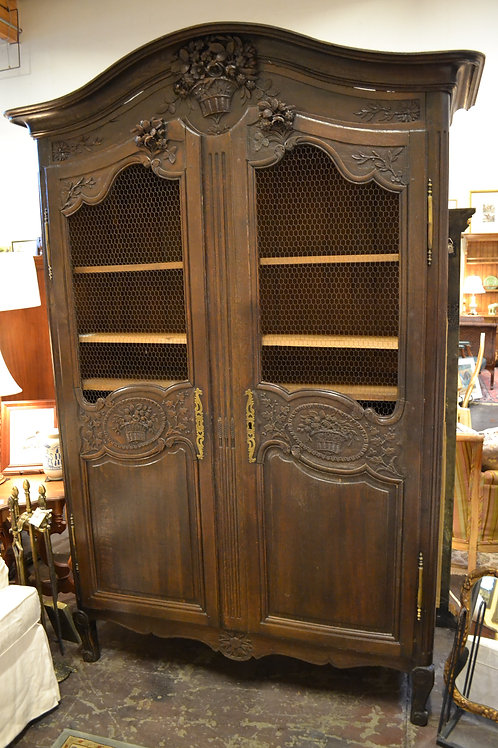 Antique French carved armoire, grated panels, key