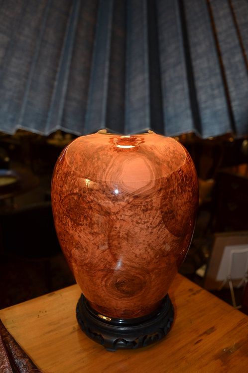 Lamp- Asian pottery jar, rewired!, mottled, wood stand