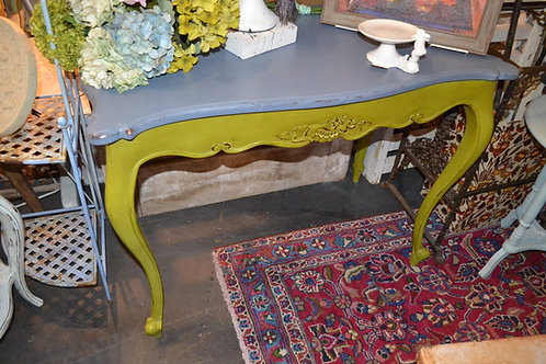 ANTIQUE FRENCH CARVED LIME & BLUE CONSOLE