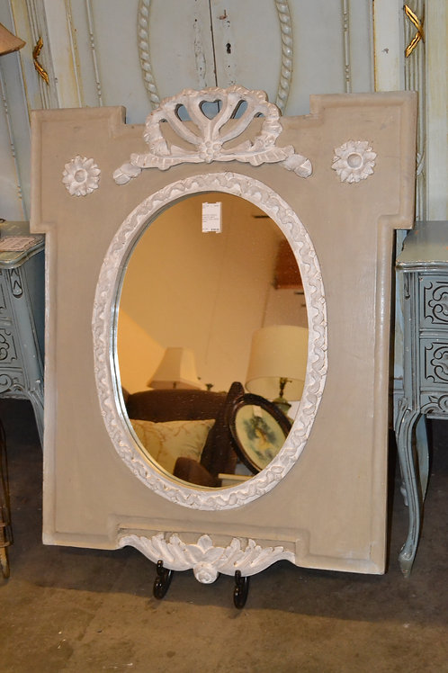 French painted mirror in taupe