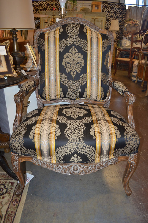 Damask carved bergere living room arm chair