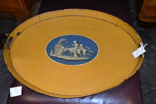 Antique French hand painted oval ochre tray