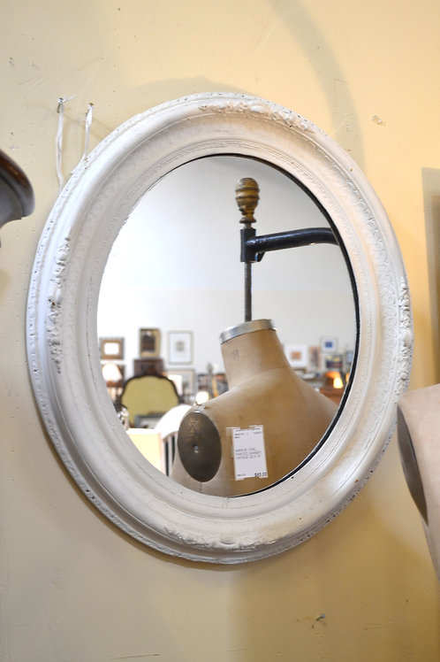 Vintage shabby painted oval mirror