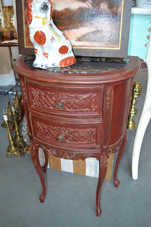 ANTIQUE FRENCH MARBLE TOP DEMI CARVED NIGHT STAND