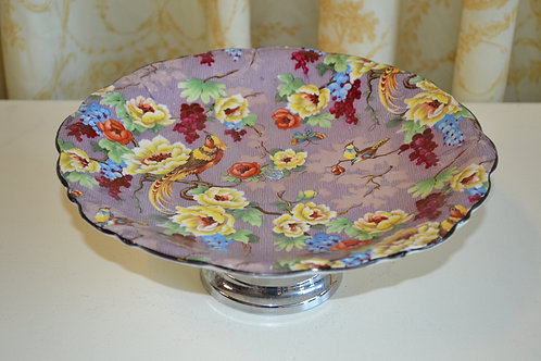 """Antique 1925 Crown Ducal """"Florida"""" chintz cake stand"""