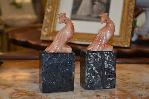Antique black and rose onyx peacock bookends