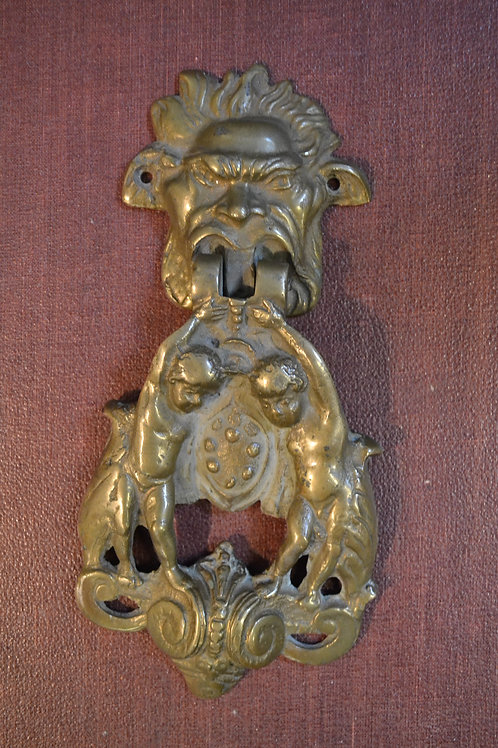 1920's solid brass knocker, gargoyle & cherubs