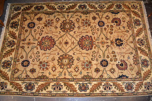 Fantastic plush Oriental rug in sandy sienna colorway