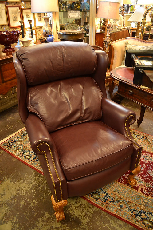 Hancock & Moore Cabernet recliner with ball & claw legs