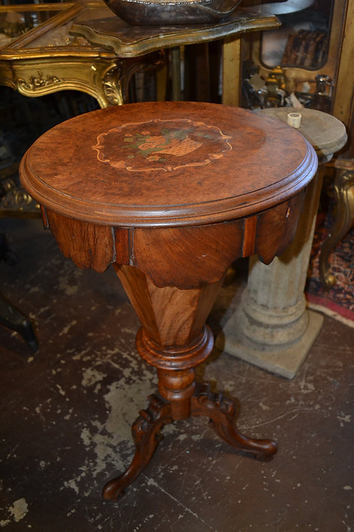 ANTIQUE ITALIAN MARQUETRY & FRUITWOOD SEWING STAND