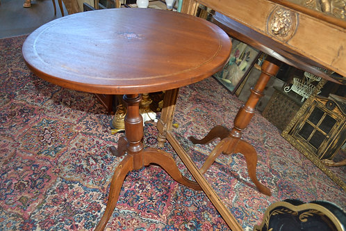 Antique round tri leg marquetry side table