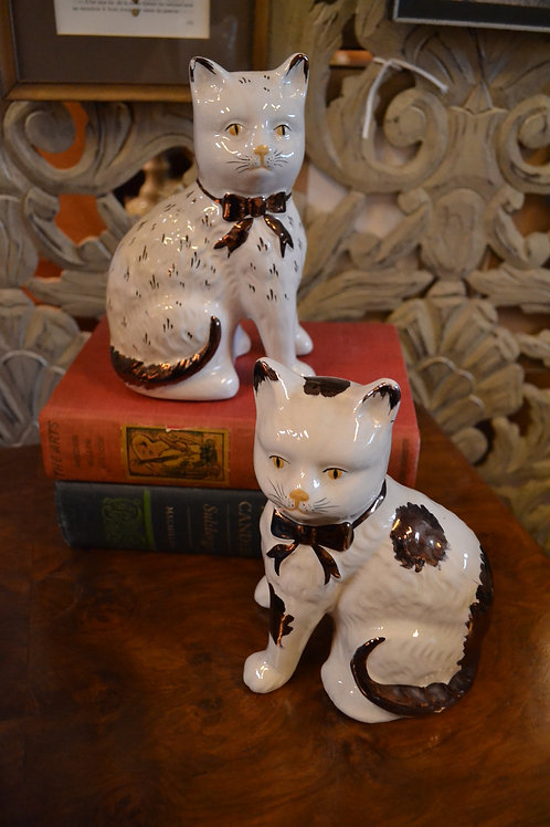 Pair- Vintage Staffordshire cats w/ bow ties