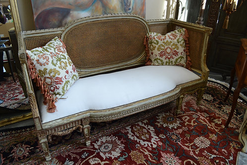 Antique French hand carved wood cane settee