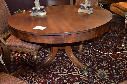 ANTIQUE MAHOGANY PEDESTAL ROUND DINING TABLE, NO LEAVES