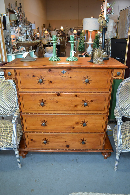 18th CENTURY REPRODUCTION CHEST W INLAID STARS