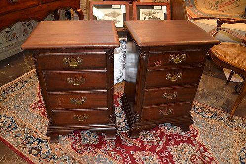 Mahogany Chippendale dark nightstand