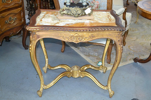 Antique sweet French table w inset marble