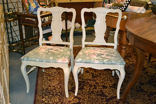Pair! Painted country cottage dining chairs