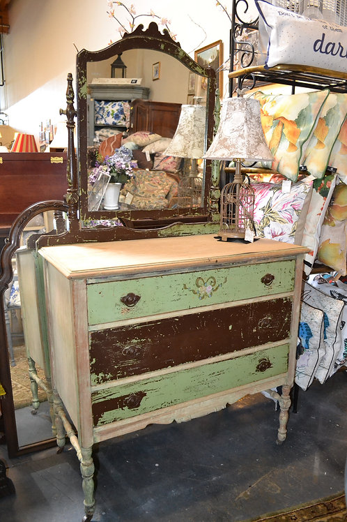 Great! Antique painted and distressed dresser