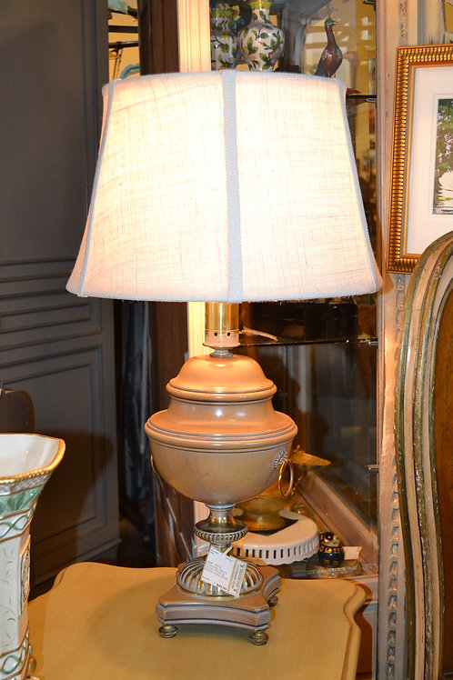 Lamp- Vintage taupe urn lam with brass