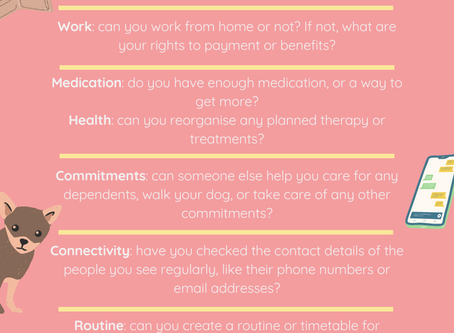 Infographic on how to be prepared for self isolation