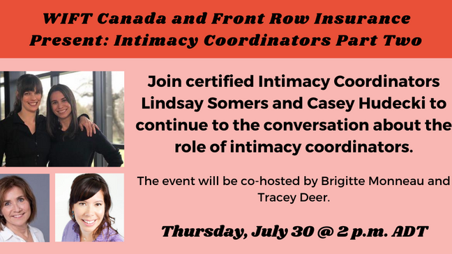 WIFT Canada and Front Row Insurance Present: Intimacy Coordinators Part Two