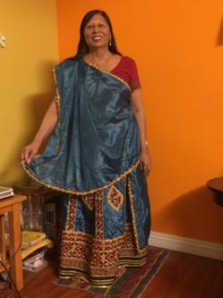 Wearing a sari for Ras Garba, 2014