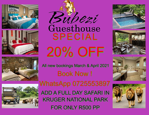 20% off and game drive march and april.j