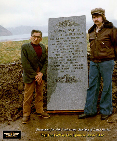Monument at Dutch Harbor in Alaska in June 1982 with Ted Spencer and Phil Tutiakoff