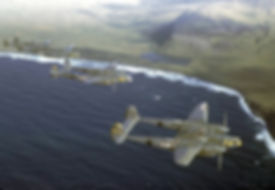 P-38 airplanes flying in formation photo on display at the Prince William Sound Museum in Whittier Alaska