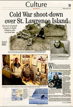 News article about a plane being shot down over St. Lawrence Island in World War II