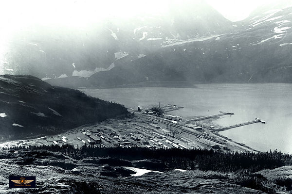 Whittier Alaska in the 1950's photo on display at the Prince William Museum in Whittier Alaska