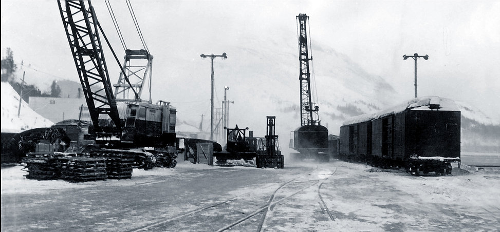Railyard in Whittier, AK in 1958 - Orlando Marin Collection at the Prince William Sound Museum