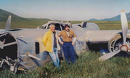 John Andrews and Ted Spencer at the crash site of B-24D Liberator on Atka Island, AK