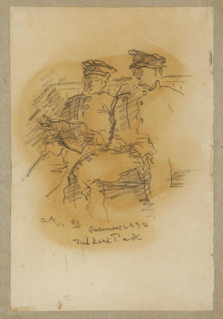 Two Students Resting  1934 pencil on paper