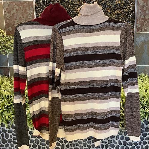 Talbots Striped Turtleneck Sweater