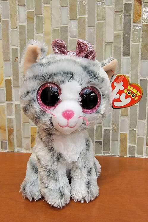Beanie Baby - Grey & Pink Cat