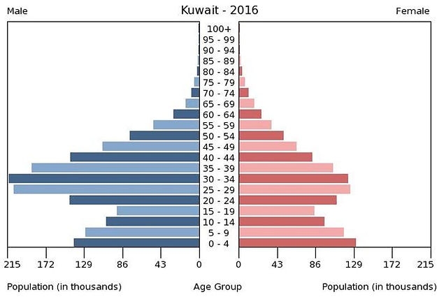2016 Kuwait population by gender & age
