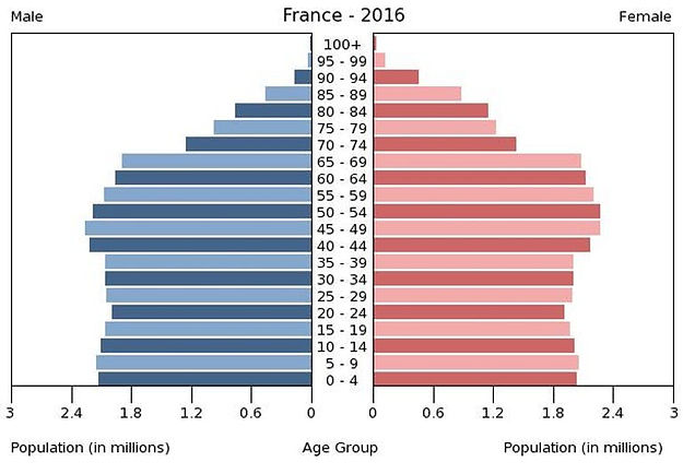 2016 France population by gender & age