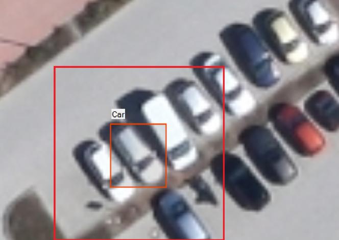 Ручная разметка ТС. Красным выделена область поиска для функции автоматического поиска других экземпляров объекта в окрестности выделенного объекта