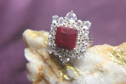 Ruby & White Topaz Ring