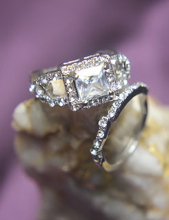 White Sapphires Engagement Wedding Ring Set