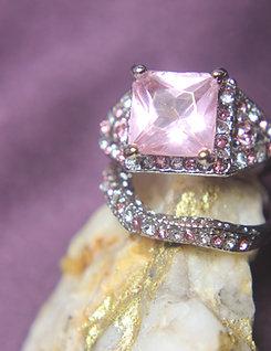 Pink Sapphire Engagement Wedding Set