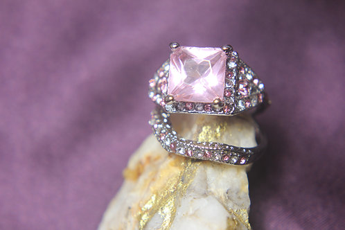 Pink Sapphire Engagement Wedding Set